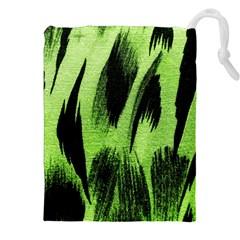 Green Tiger Background Fabric Animal Motifs Drawstring Pouches (xxl)