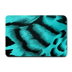 Blue Background Fabric Tiger  Animal Motifs Small Doormat  by Amaryn4rt