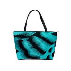 Blue Background Fabric Tiger  Animal Motifs Shoulder Handbags by Amaryn4rt