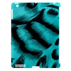 Blue Background Fabric Tiger  Animal Motifs Apple Ipad 3/4 Hardshell Case (compatible With Smart Cover) by Amaryn4rt