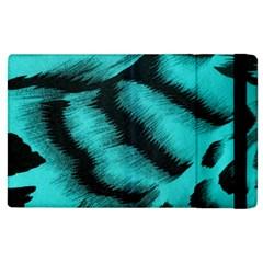Blue Background Fabric Tiger  Animal Motifs Apple Ipad 2 Flip Case by Amaryn4rt