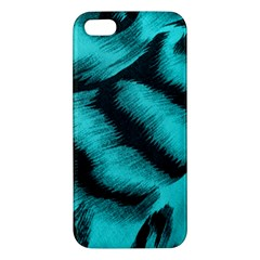 Blue Background Fabric Tiger  Animal Motifs Apple Iphone 5 Premium Hardshell Case by Amaryn4rt