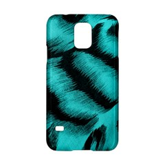 Blue Background Fabric Tiger  Animal Motifs Samsung Galaxy S5 Hardshell Case  by Amaryn4rt