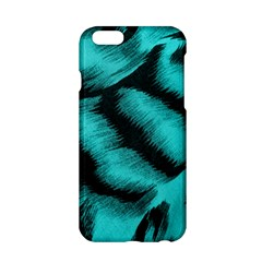 Blue Background Fabric Tiger  Animal Motifs Apple Iphone 6/6s Hardshell Case by Amaryn4rt