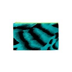 Blue Background Fabric Tiger  Animal Motifs Cosmetic Bag (xs) by Amaryn4rt