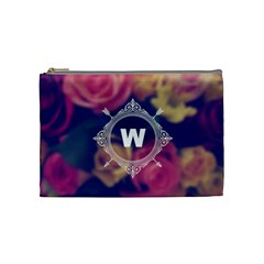 Vintage Monogram Flower Vintage Monogram Flower Cosmetic Bag (medium)  by makeunique