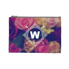 Vintage Monogram Flower Vintage Monogram Flower Cosmetic Bag (large)  by makeunique
