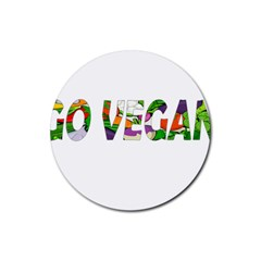 Go Vegan Rubber Coaster (round)  by Valentinaart