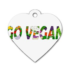 Go Vegan Dog Tag Heart (one Side) by Valentinaart