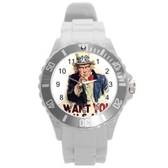 Uncle Sam Round Plastic Sport Watch (l) by Valentinaart