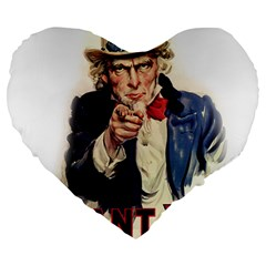 Uncle Sam Large 19  Premium Heart Shape Cushions by Valentinaart