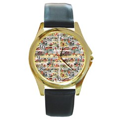 Old Comic Strip Round Gold Metal Watch by Valentinaart