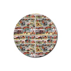 Old Comic Strip Rubber Coaster (round)  by Valentinaart