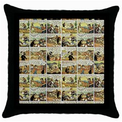 Old Comic Strip Throw Pillow Case (black) by Valentinaart
