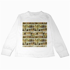 Old Comic Strip Kids Long Sleeve T Shirts by Valentinaart