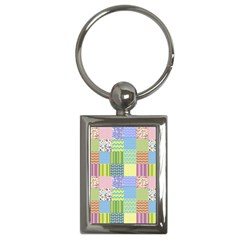 Old Quilt Key Chains (rectangle)  by Valentinaart