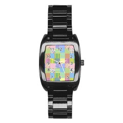 Old Quilt Stainless Steel Barrel Watch by Valentinaart