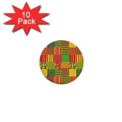 Old Quilt 1  Mini Buttons (10 Pack)  by Valentinaart