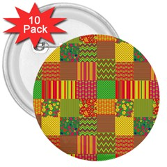 Old Quilt 3  Buttons (10 Pack)  by Valentinaart