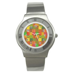 Old Quilt Stainless Steel Watch by Valentinaart
