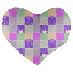 Patchwork Large 19  Premium Flano Heart Shape Cushions by Valentinaart