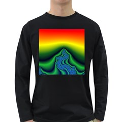 Fractal Wallpaper Water And Fire Long Sleeve Dark T Shirts