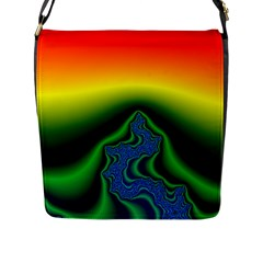 Fractal Wallpaper Water And Fire Flap Messenger Bag (l)  by Amaryn4rt
