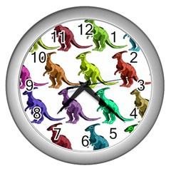 Multicolor Dinosaur Background Wall Clocks (silver)  by Amaryn4rt