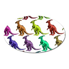 Multicolor Dinosaur Background Oval Magnet by Amaryn4rt