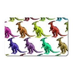 Multicolor Dinosaur Background Magnet (rectangular) by Amaryn4rt