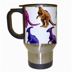 Multicolor Dinosaur Background Travel Mugs (white) by Amaryn4rt