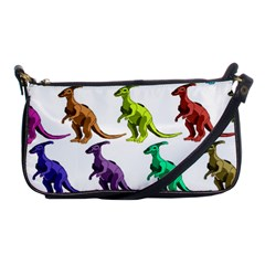 Multicolor Dinosaur Background Shoulder Clutch Bags by Amaryn4rt