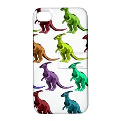 Multicolor Dinosaur Background Apple Iphone 4/4s Hardshell Case With Stand by Amaryn4rt