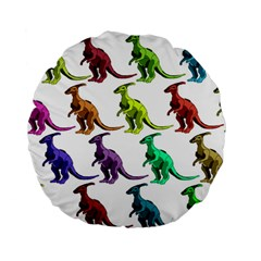 Multicolor Dinosaur Background Standard 15  Premium Flano Round Cushions by Amaryn4rt