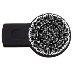 Black Lace Kaleidoscope On White Usb Flash Drive Round (2 Gb) by Amaryn4rt
