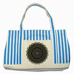 Black Lace Kaleidoscope On White Striped Blue Tote Bag by Amaryn4rt