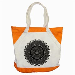 Black Lace Kaleidoscope On White Accent Tote Bag by Amaryn4rt