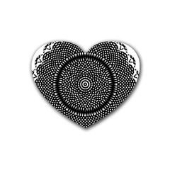 Black Lace Kaleidoscope On White Heart Coaster (4 Pack)  by Amaryn4rt