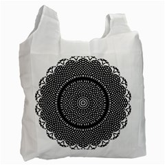 Black Lace Kaleidoscope On White Recycle Bag (one Side) by Amaryn4rt