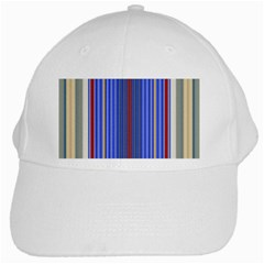 Colorful Stripes Background White Cap by Amaryn4rt