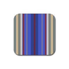 Colorful Stripes Background Rubber Square Coaster (4 Pack)  by Amaryn4rt
