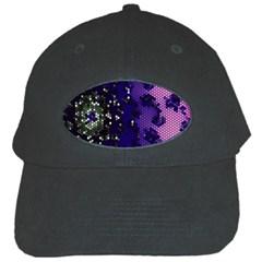 Blue Digital Fractal Black Cap