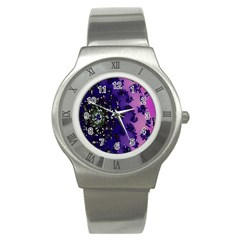Blue Digital Fractal Stainless Steel Watch by Amaryn4rt