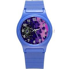 Blue Digital Fractal Round Plastic Sport Watch (s) by Amaryn4rt