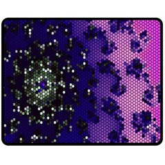 Blue Digital Fractal Double Sided Fleece Blanket (medium)  by Amaryn4rt