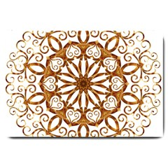 Golden Filigree Flake On White Large Doormat  by Amaryn4rt