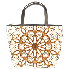 Golden Filigree Flake On White Bucket Bags by Amaryn4rt