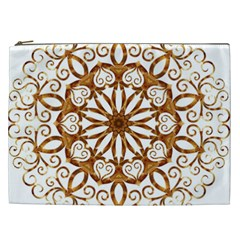Golden Filigree Flake On White Cosmetic Bag (xxl)  by Amaryn4rt