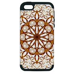 Golden Filigree Flake On White Apple Iphone 5 Hardshell Case (pc+silicone) by Amaryn4rt