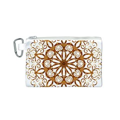 Golden Filigree Flake On White Canvas Cosmetic Bag (s) by Amaryn4rt